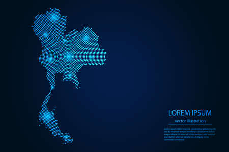 Abstract image Thailand map from point blue and glowing stars on a dark background. vector illustration.