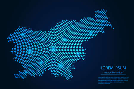 Abstract image Slovenia map from point blue and glowing stars on a dark background. vector illustration. 矢量图像
