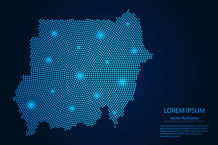 Abstract image Sudan map from point blue and glowing stars on a dark background. vector illustration. 矢量图像