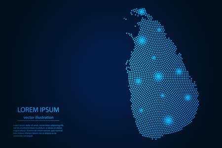 Abstract image Sri Lanka map from point blue and glowing stars on a dark background. vector illustration.