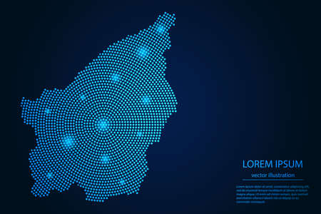 Abstract image San Marino map from point blue and glowing stars on a dark background. vector illustration.