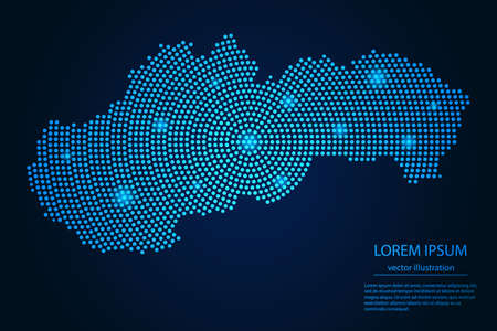 Abstract image Slovakia map from point blue and glowing stars on a dark background. vector illustration. 矢量图像
