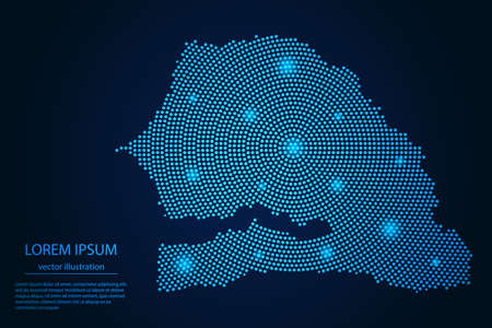 Abstract image Senegal map from point blue and glowing stars on a dark background. vector illustration. 矢量图像