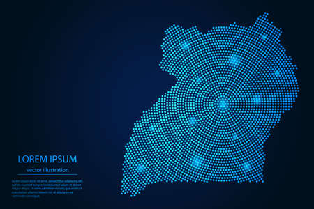 Abstract image Uganda map from point blue and glowing stars on a dark background. vector illustration.