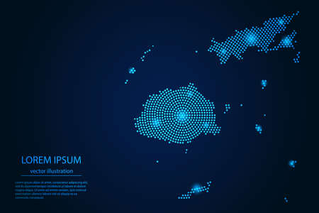 Abstract image Fiji map from point blue and glowing stars on a dark background. vector illustration.