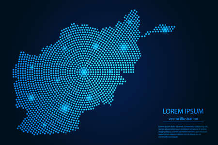 Abstract image Afghanistan map from point blue and glowing stars on a dark background. vector illustration. 矢量图像