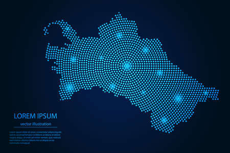 Abstract image Turkmenistan map from point blue and glowing stars on a dark background. vector illustration.