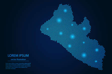 Abstract image Liberia map from point blue and glowing stars on a dark background. vector illustration.