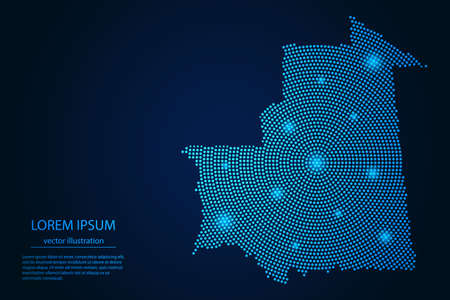Abstract image Mauritania map from point blue and glowing stars on a dark background. vector illustration. 矢量图像