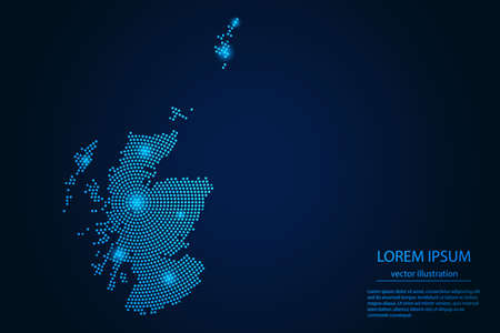 Abstract image Scotland map from point blue and glowing stars on a dark background. vector illustration eps 10. 矢量图像