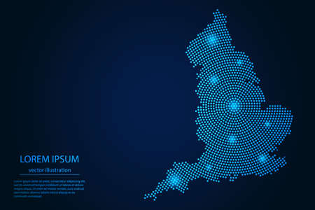 Abstract image England map from point blue and glowing stars on a dark background. vector illustration.