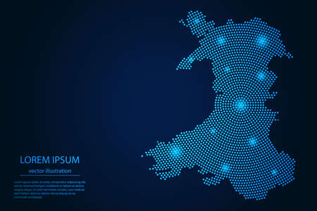 Abstract image Wales map from point blue and glowing stars on a dark background. vector illustration.