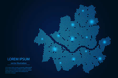Abstract image Seoul map from point blue and glowing stars on a dark background. vector illustration.
