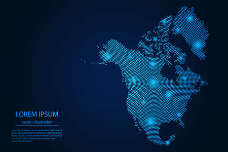 Abstract image North America map from point blue and glowing stars on a dark background. Vector Illustration.