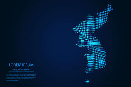 Abstract image Korea map from point blue and glowing stars on a dark background. vector illustration. Vector