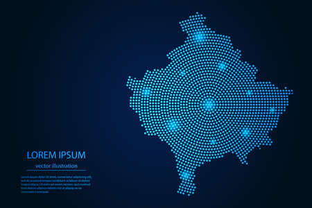 Abstract image Kosovo map from point blue and glowing stars on a dark background. vector illustration.