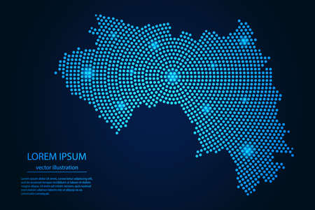 Abstract image Guinea map from point blue and glowing stars on a dark background. vector illustration. 矢量图像