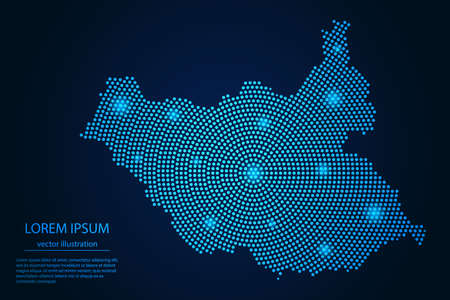 Abstract image South Sudan map from point blue and glowing stars on a dark background. vector illustration.