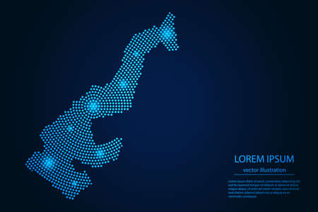 Abstract image Monaco map from point blue and glowing stars on a dark background. vector illustration. 矢量图像