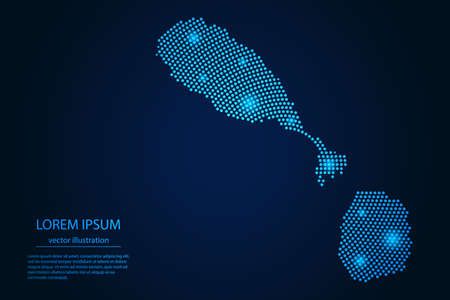 Abstract image Saint Kitts and Nevis map from point blue and glowing stars on a dark background. vector illustration.