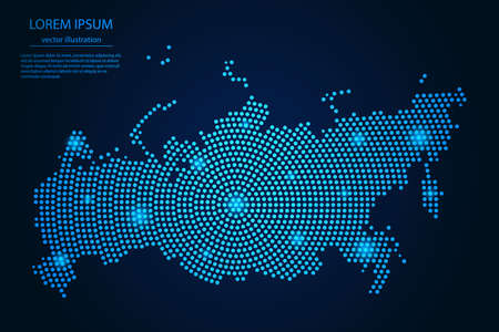 Abstract image Russia map from point blue and glowing stars on a dark background. vector illustration.