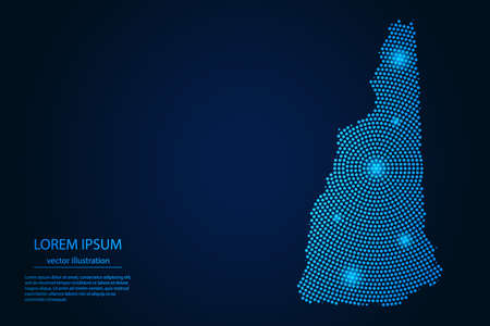Abstract image New Hampshire map from point blue and glowing stars on a dark background. vector illustration. 矢量图像
