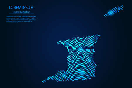 Abstract image Trinidad and Tobago map from point blue and glowing stars on a dark background. vector illustration.