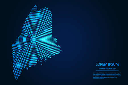 Abstract image Maine map from point blue and glowing stars on a dark background. vector illustration.