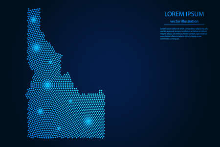 Abstract image Idaho map from point blue and glowing stars on a dark background. vector illustration. 矢量图像