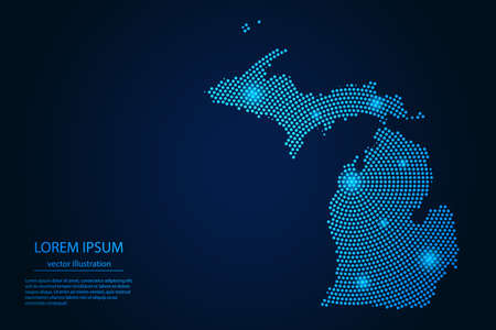 Abstract image Michigan map from point blue and glowing stars on a dark background. vector illustration.