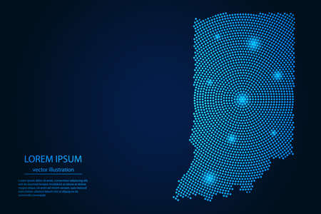 Abstract image Indiana map from point blue and glowing stars on a dark background. vector illustration. 矢量图像