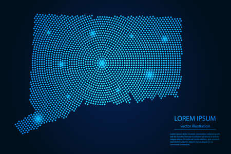 Abstract image Connecticut map from point blue and glowing stars on a dark background. vector illustration.