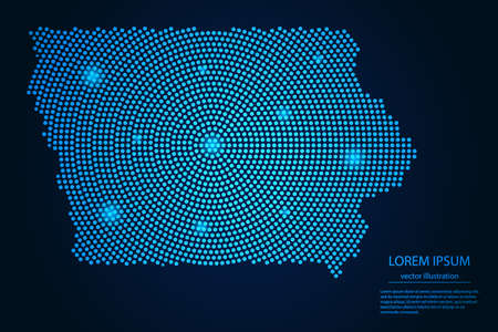 Abstract image Iowa map from point blue and glowing stars on a dark background. vector illustration. 矢量图像