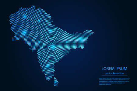 Abstract image South Asia map from point blue and glowing stars on a dark background. vector illustration.