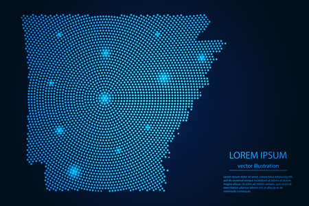 Abstract image Arkansas map from point blue and glowing stars on a dark background. vector illustration.
