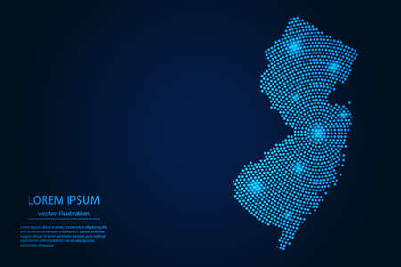 Abstract image New Jersey map from point blue and glowing stars on a dark background. vector illustration. 矢量图像