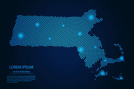Abstract image Massachusetts map from point blue and glowing stars on a dark background. vector illustration.