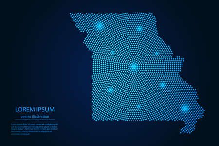 Abstract image Missouri map from point blue and glowing stars on a dark background. vector illustration.