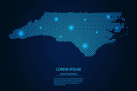 Abstract image North Carolina map from point blue and glowing stars on a dark background. vector illustration.