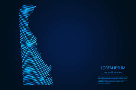 Abstract image Delaware map from point blue and glowing stars on a dark background. vector illustration. 矢量图像