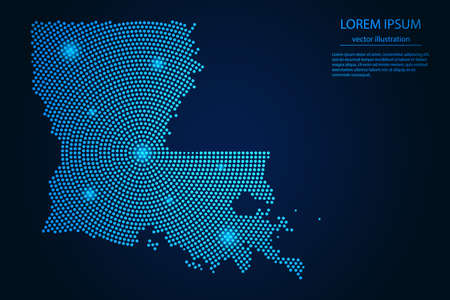 Abstract image Louisiana map from point blue and glowing stars on a dark background. vector illustration.