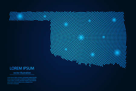 Abstract image Oklahoma map from point blue and glowing stars on a dark background. vector illustration.