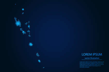 Abstract image Vanuatu map from point blue and glowing stars on a dark background. vector illustration.