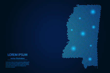Abstract image Mississippi map from point blue and glowing stars on a dark background. vector illustration. 矢量图像