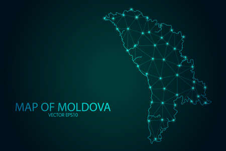 Map of Moldova - With glowing point and lines scales on The Dark Gradient Background, 3D mesh polygonal network connections. Vector illustration .