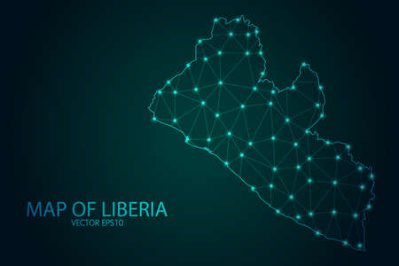 Map of Liberia - With glowing point and lines scales on The Dark Gradient Background, 3D mesh polygonal network connections. Vector illustration .