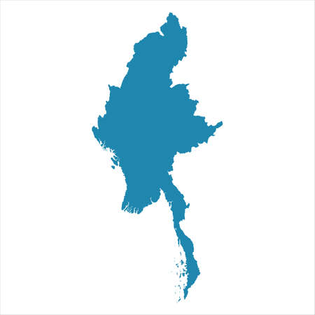 Abstract - High Detailed blue Map of Myanmar isolated on white background. for your web site design map logo, app, ui, Travel vector illustration .