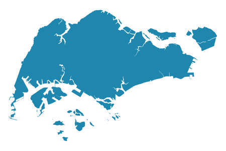 Abstract - High Detailed blue Map of Singapore isolated on white background.