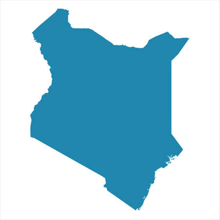 Abstract - High Detailed blue Map of Kenya isolated on white background. Vettoriali