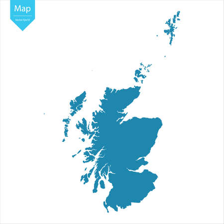Abstract - High Detailed blue Map of Scotland isolated on white background. for your web site design map logo, app, ui, Travel vector illustration eps10. Logos